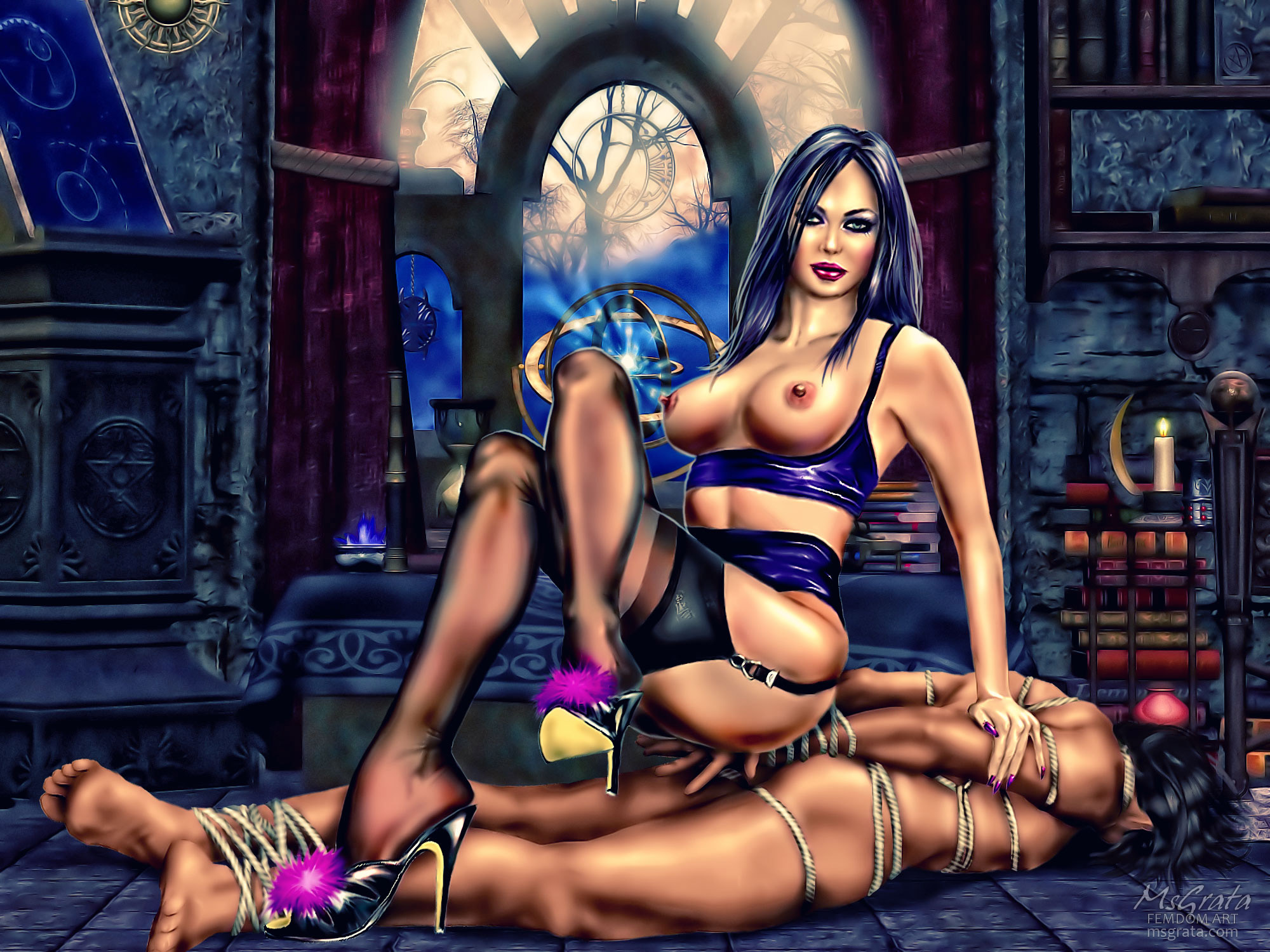 Busty domina in stockings and lingerie slave bondage Chamber Of Mysteries femdom art