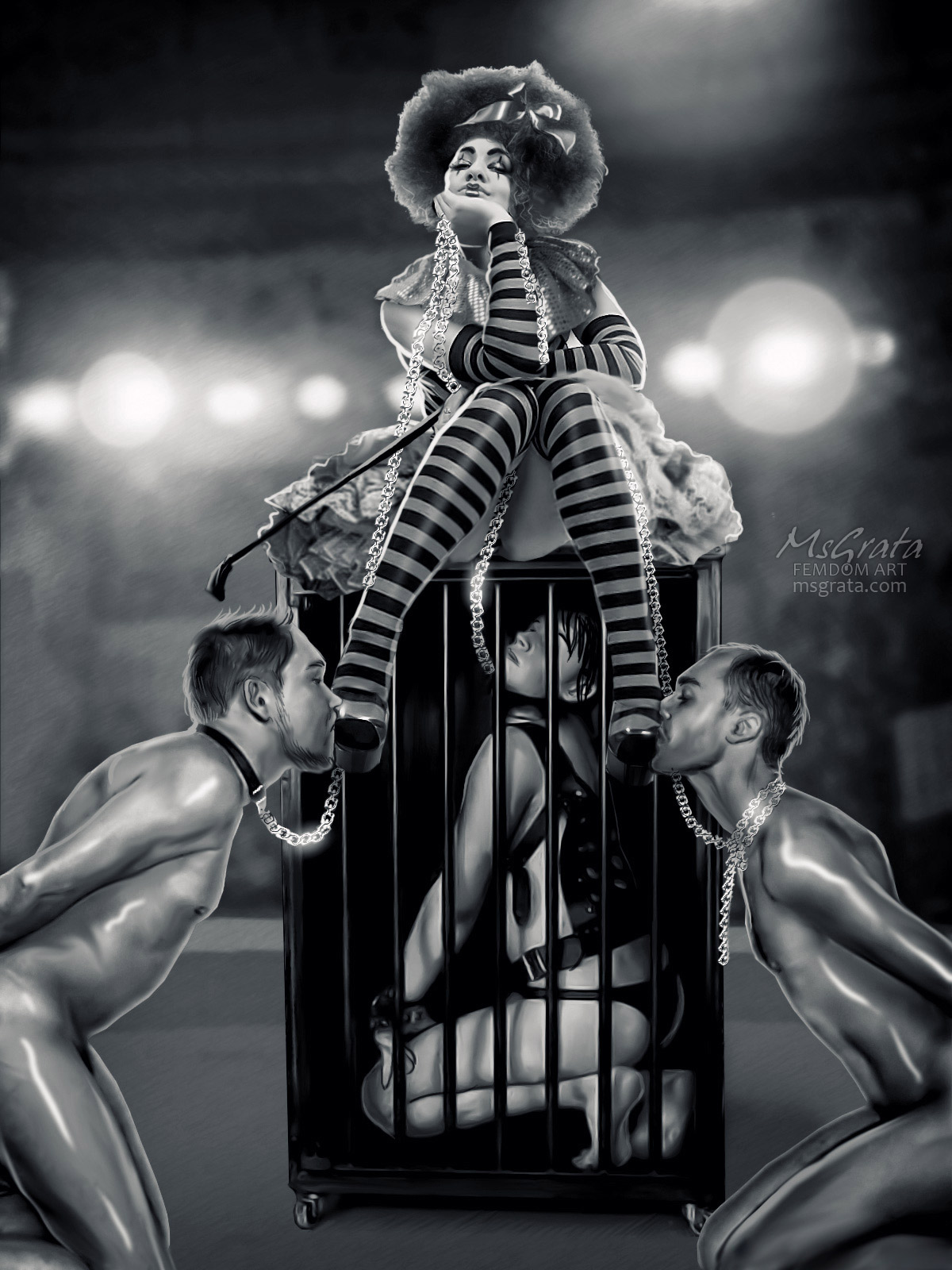 Circus Performance feet worship femdom art drawn by MsGrata