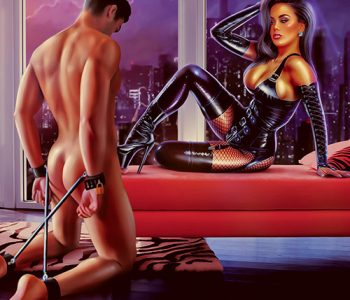 Leather corsette high heels and fishnet stockings dominatrix Confession femdom art by MsGrata