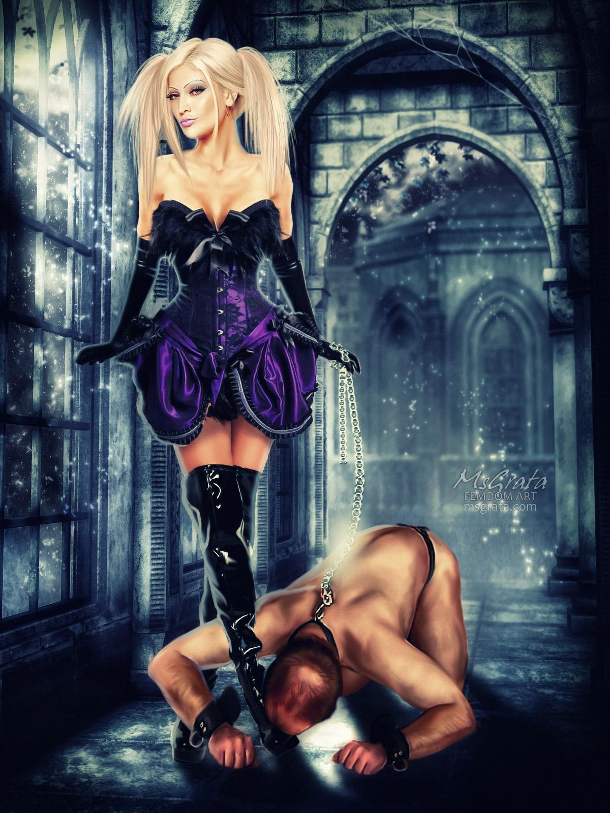 Medieval femdom art fantasy Get In! under her feet by MsGrata