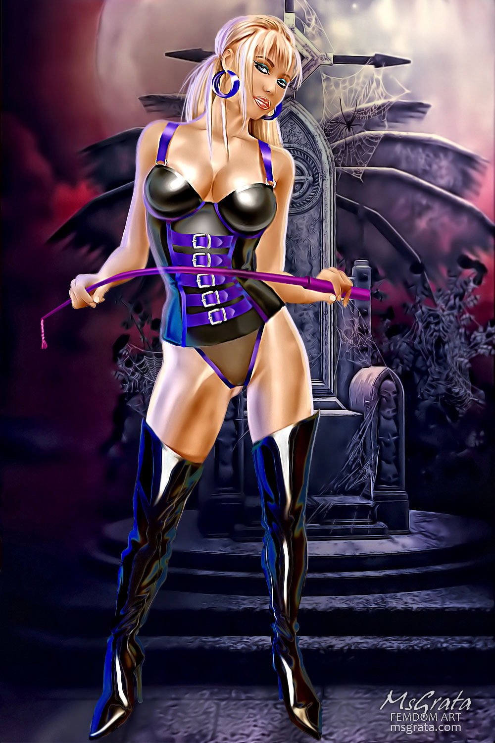 Latex blonde Mistress with whip in dungeon drawn femdom art by MsGrata