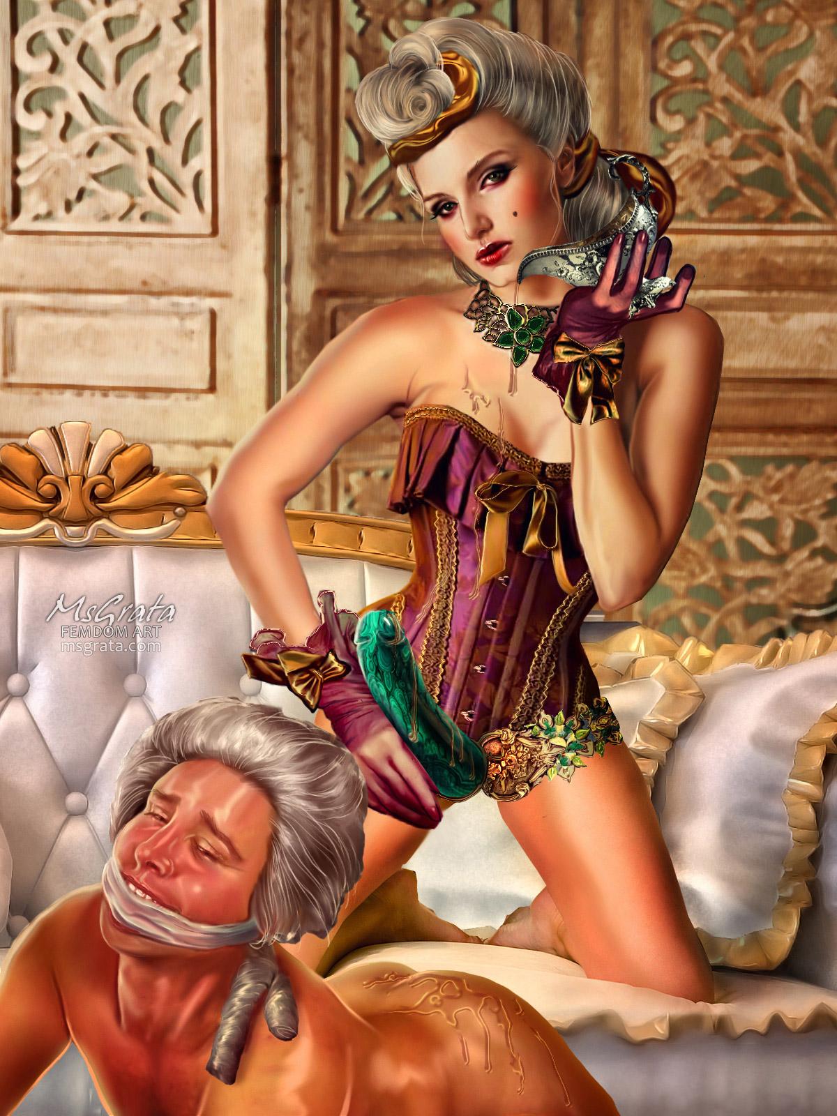 Medieval strap-on dildo pegging dominatrix MsGrata's femdom art fantasy