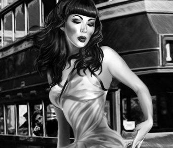 Asian Mistress facesitting slave public humiliation MsGrata's drawn femdom art