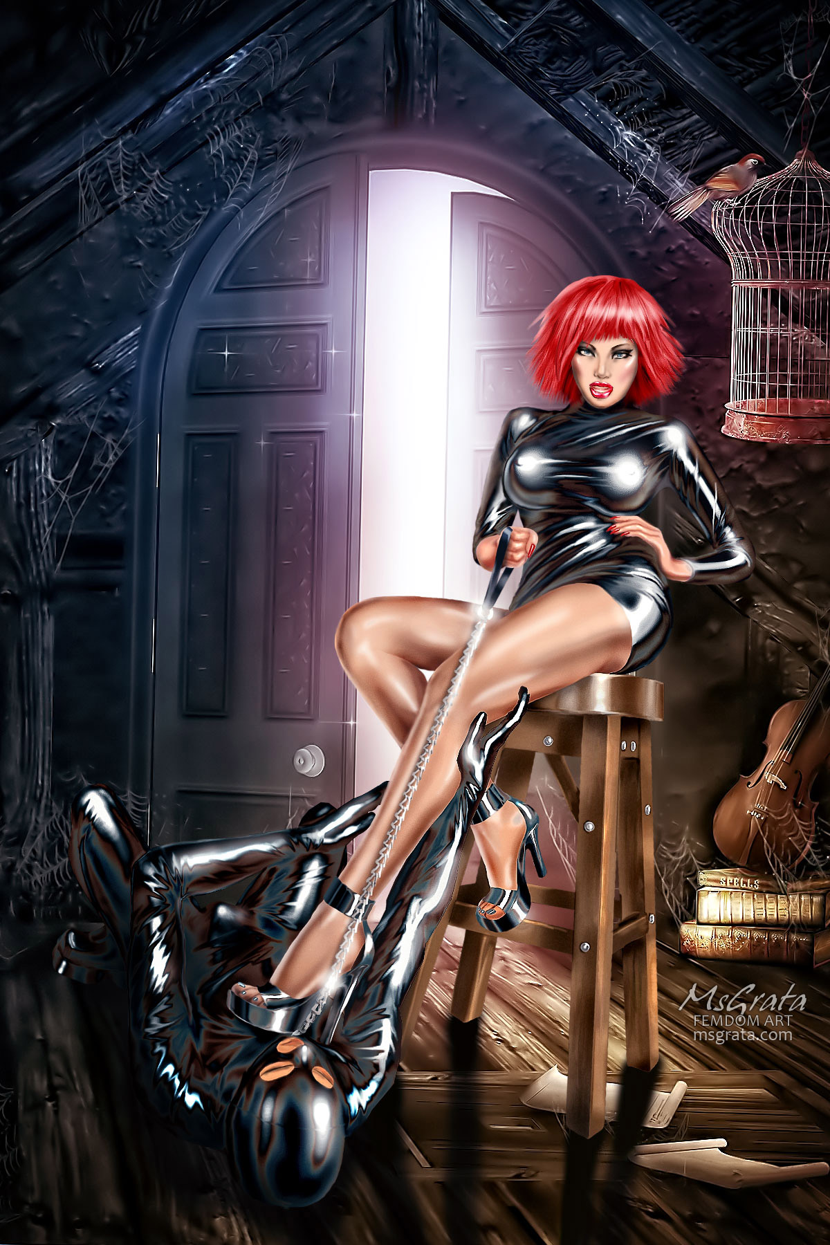 Leggy Supreme under her feet latex dominatrix high heels worship femdom art by MsGrata