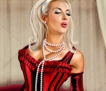 Her Majesty Mistress Passionate Slap slave bondage drawn femdom art by MsGrata
