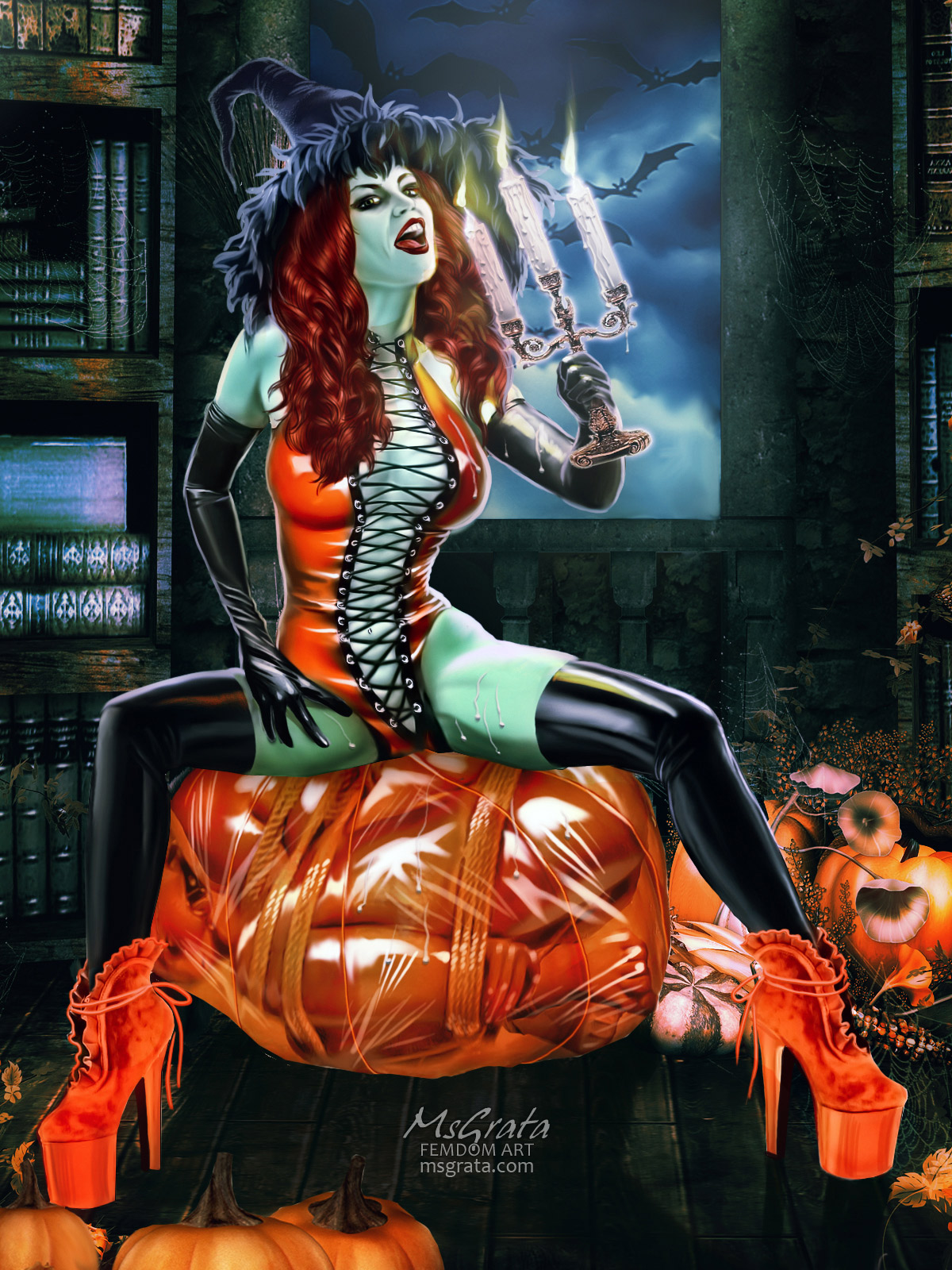 Remarkable Helloween latex witch dungeon bondage femdom art by MsGrata
