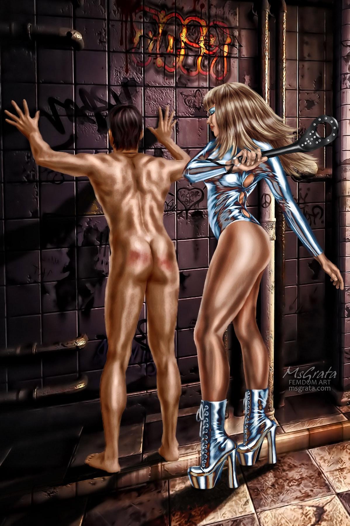 Spanking femdom art by MsGrata Shining Spanking Goddess