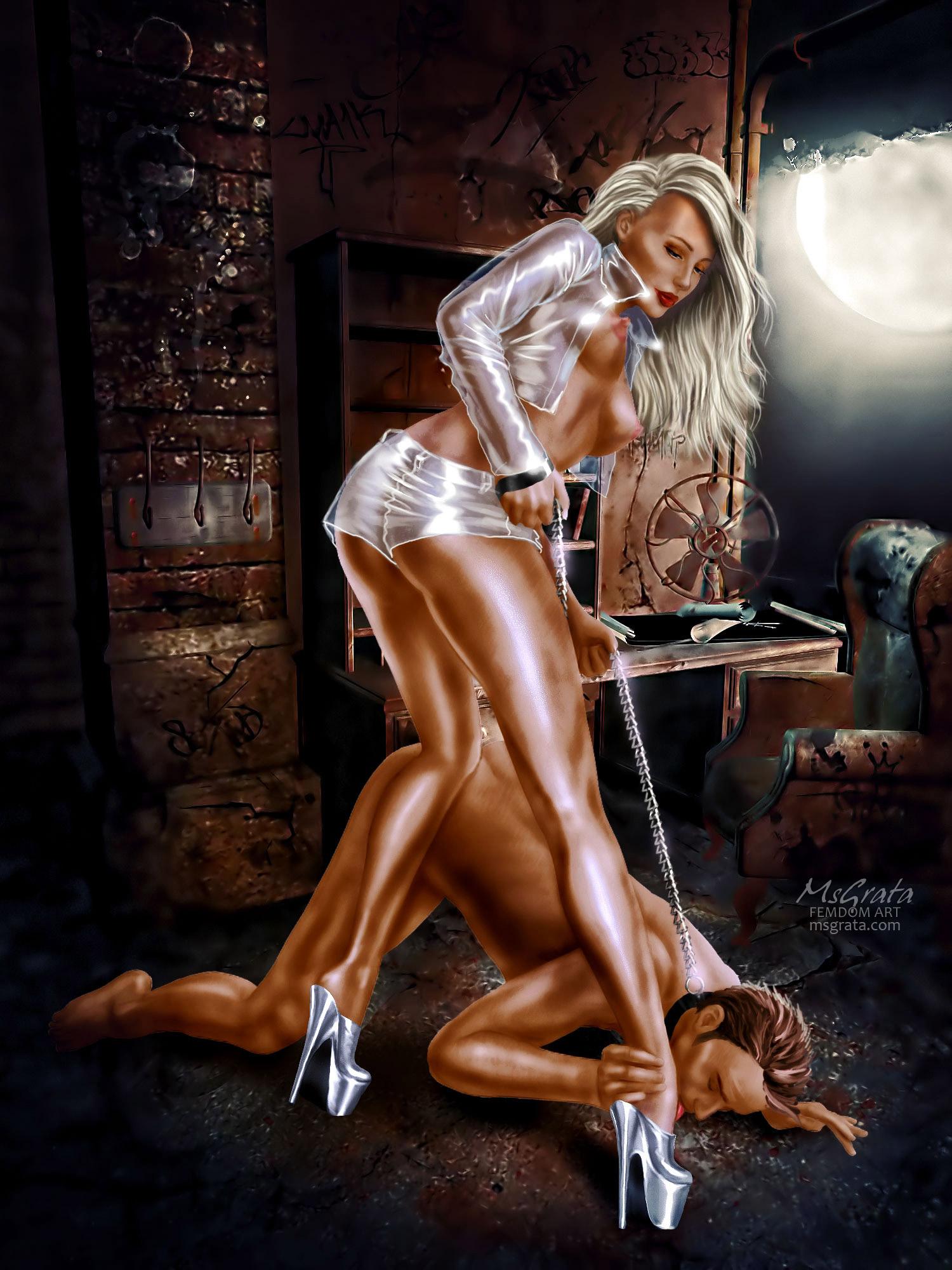 MsGrta drawn femdom art - Under Leggy Goddess Feet - under her feet high heels worship fem dom