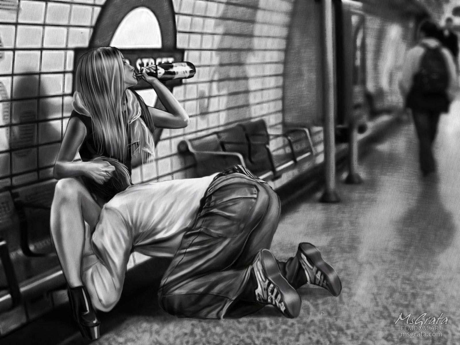 Underground public humiliation pussy eating facesitting femdom art drawing