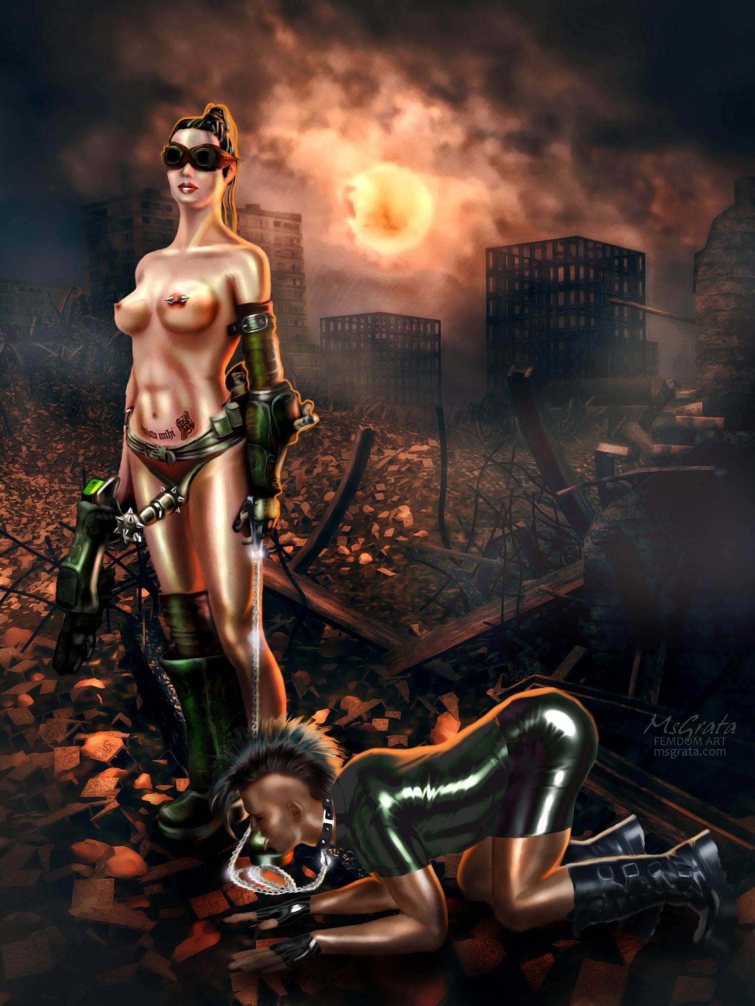 Post-apocalypse ynder dominatrix feet steam punk femdom art fantasy by MsGrata